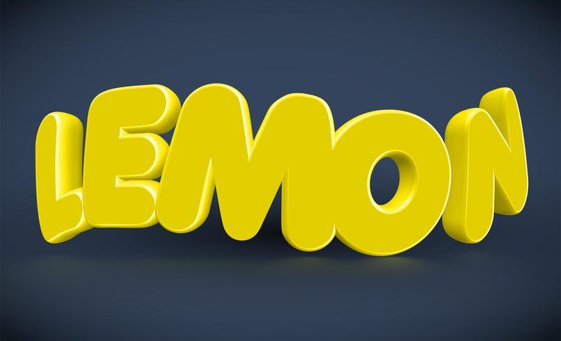 Tipografia 3D - limão, vetor