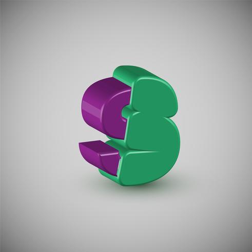 3D personagem colorido de um typeset, vetor