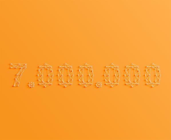Um número feito por pinos e linhas, 3D e realista, vetor