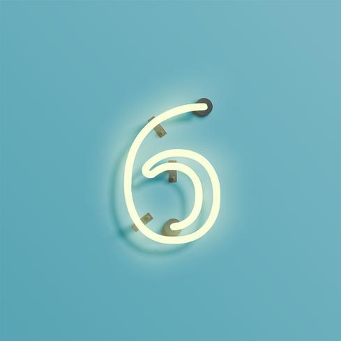 Personagem de néon realista de um fontset, vector