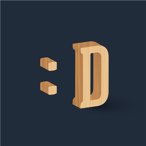 3D emoticon de caracteres de fonte de madeira, vetor