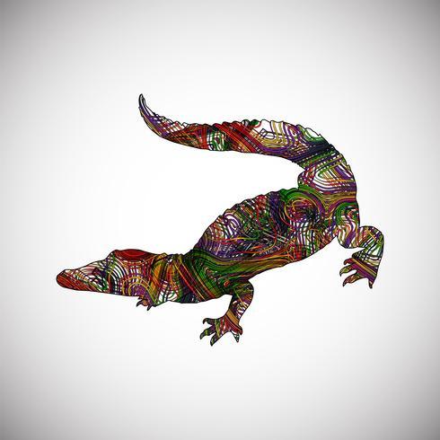 Crocodilo colorido feito por linhas, ilustração vetorial vetor
