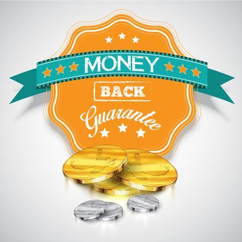 Adesivo de 'Garantia de devolução do dinheiro' com moedas realistas, vetor