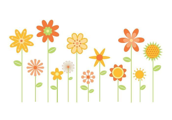 Pacote estilizado de vetores de flores dois
