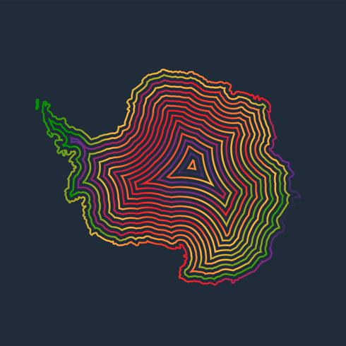 Antártida colorida feita por traços, vetor