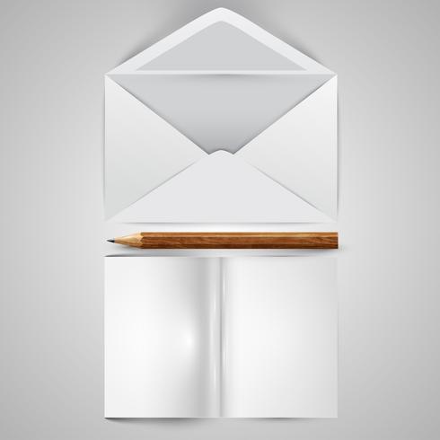 Envelope aberto realista com papéis e uma ilustração do vetor de lápis