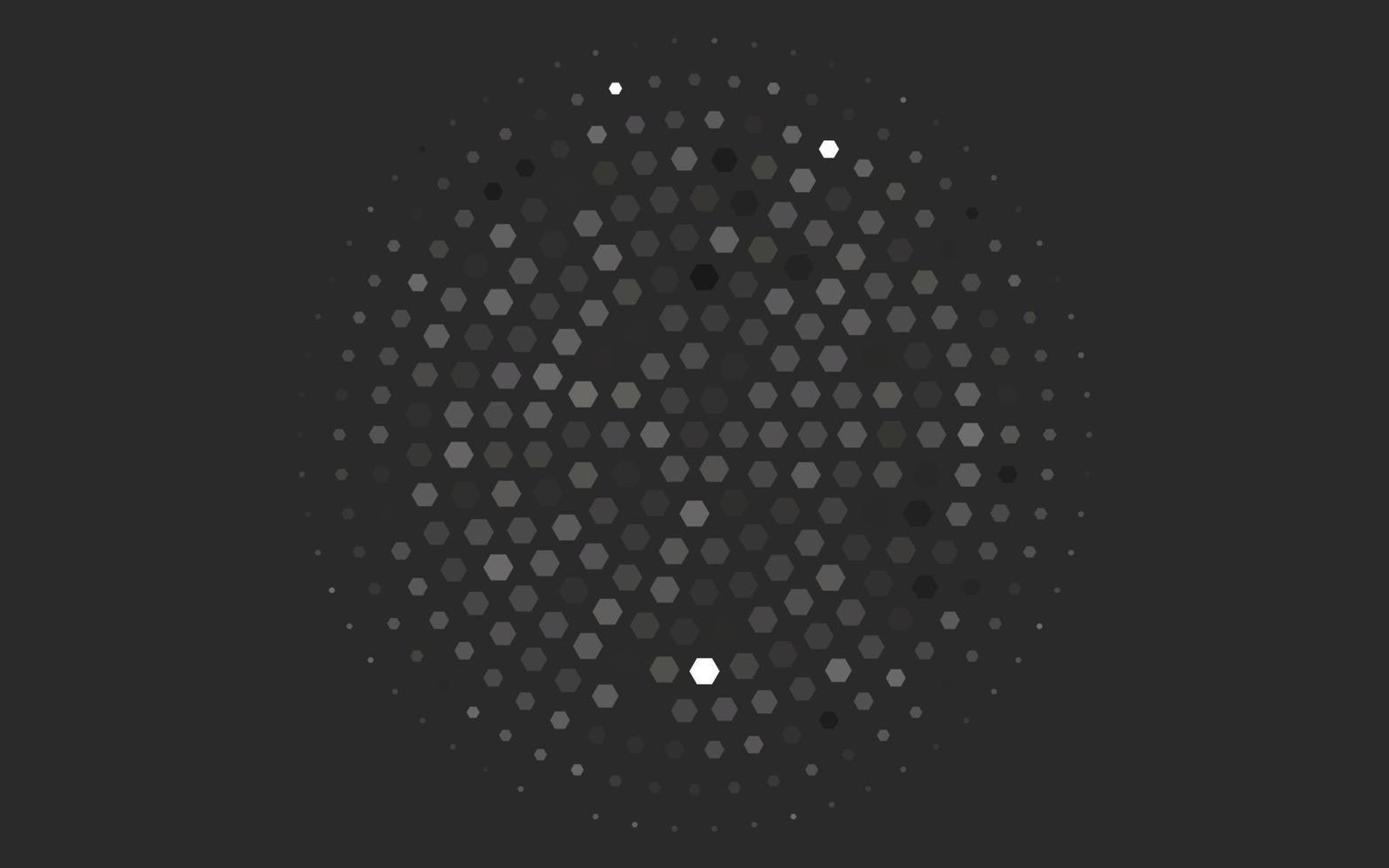 textura de vetor preto claro com hexágonos coloridos.