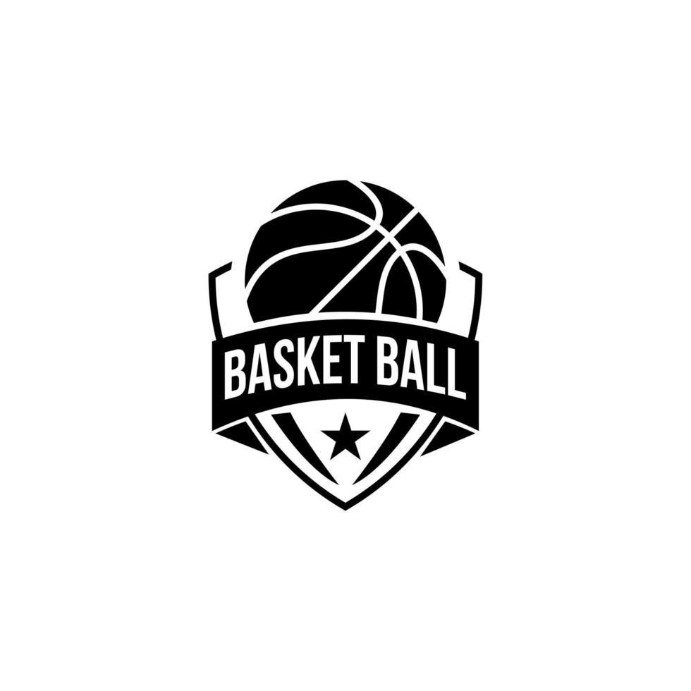 ilustração de design de logotipo preto de basquete vetor