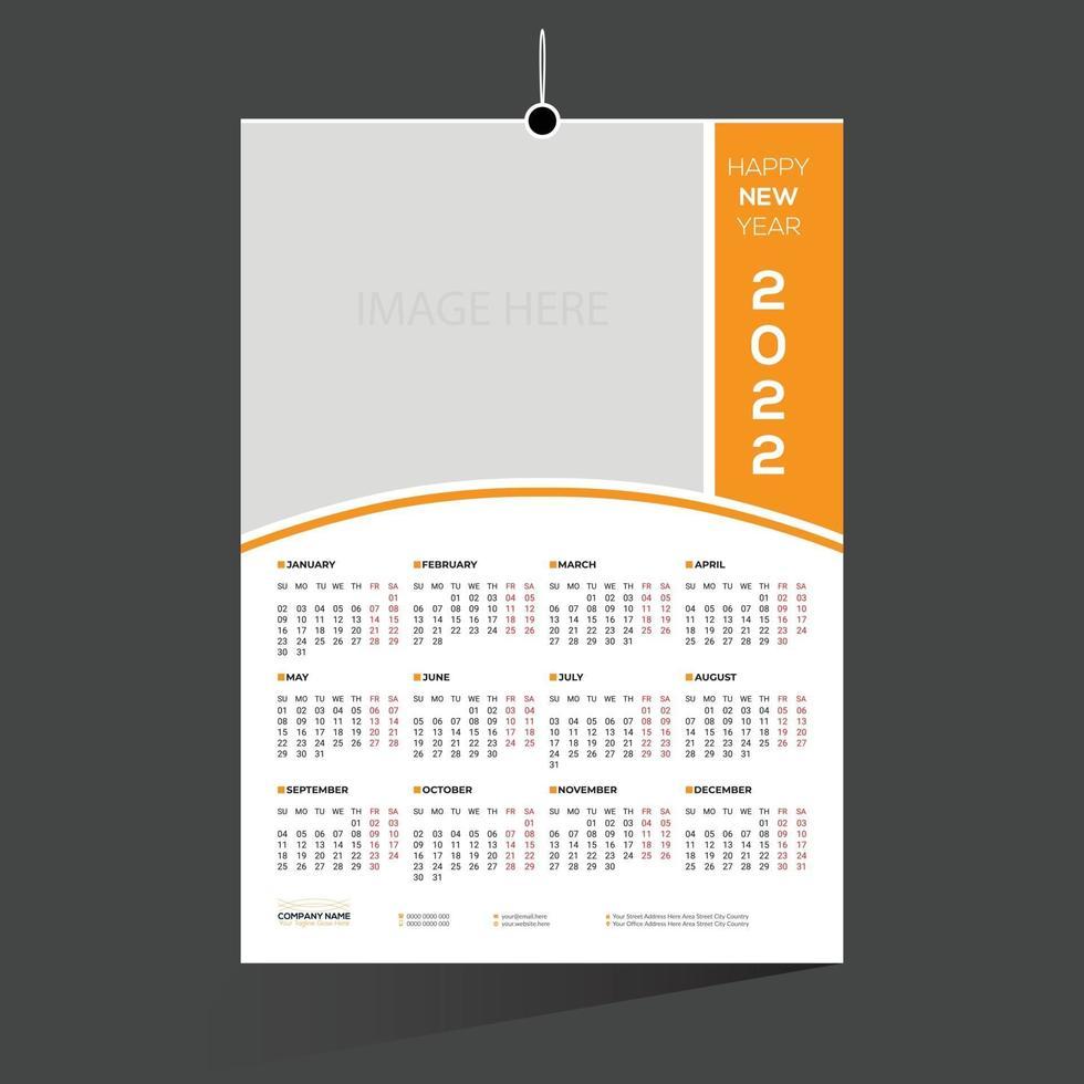 design de calendário de 12 meses de 2022 cor de laranja vetor