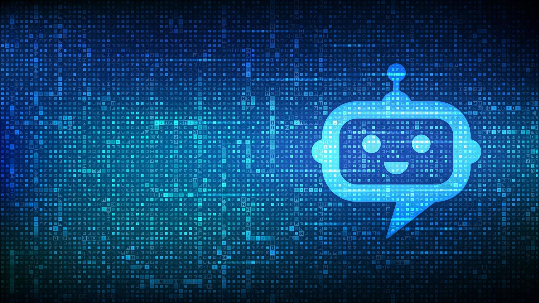 robô chatbot ícone cabeça sinal feito com código binário. vetor