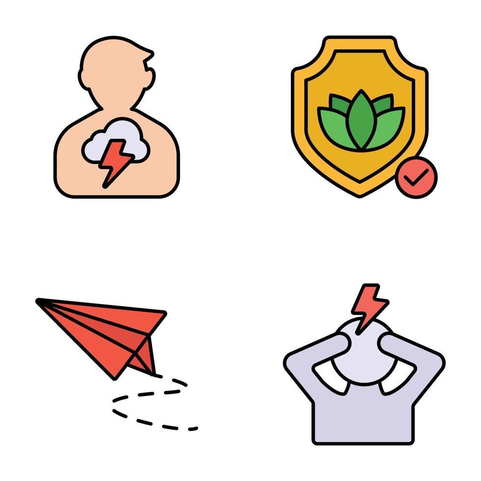 ícones de linhas coloridas de ansiedade e depressão vetor