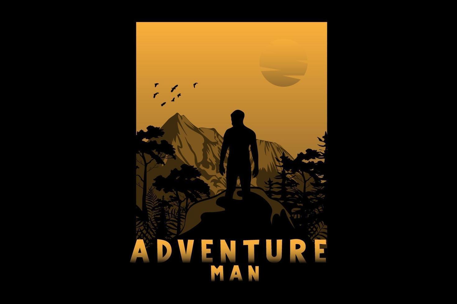aventura homem silhueta design vetor