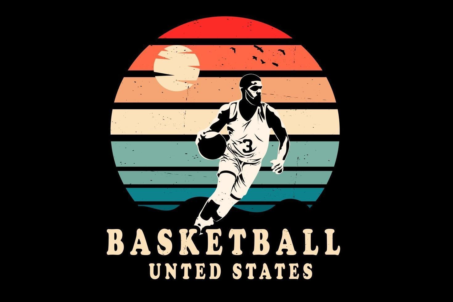 desenho da silhueta dos estados unidos de basquete vetor