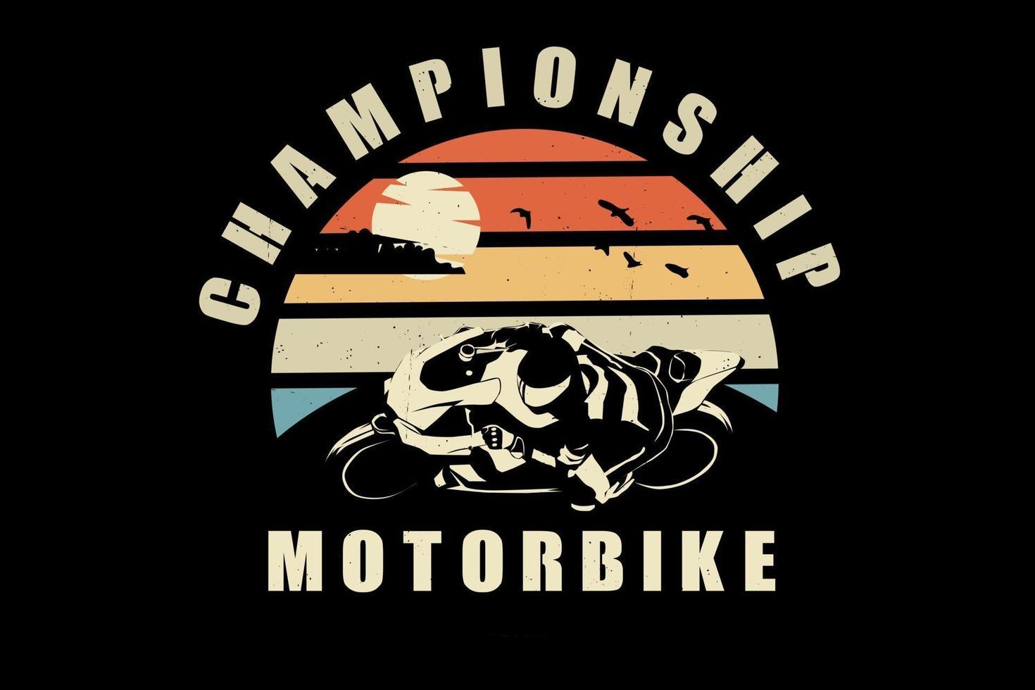 design de silhueta de campeonato de motocicleta vetor