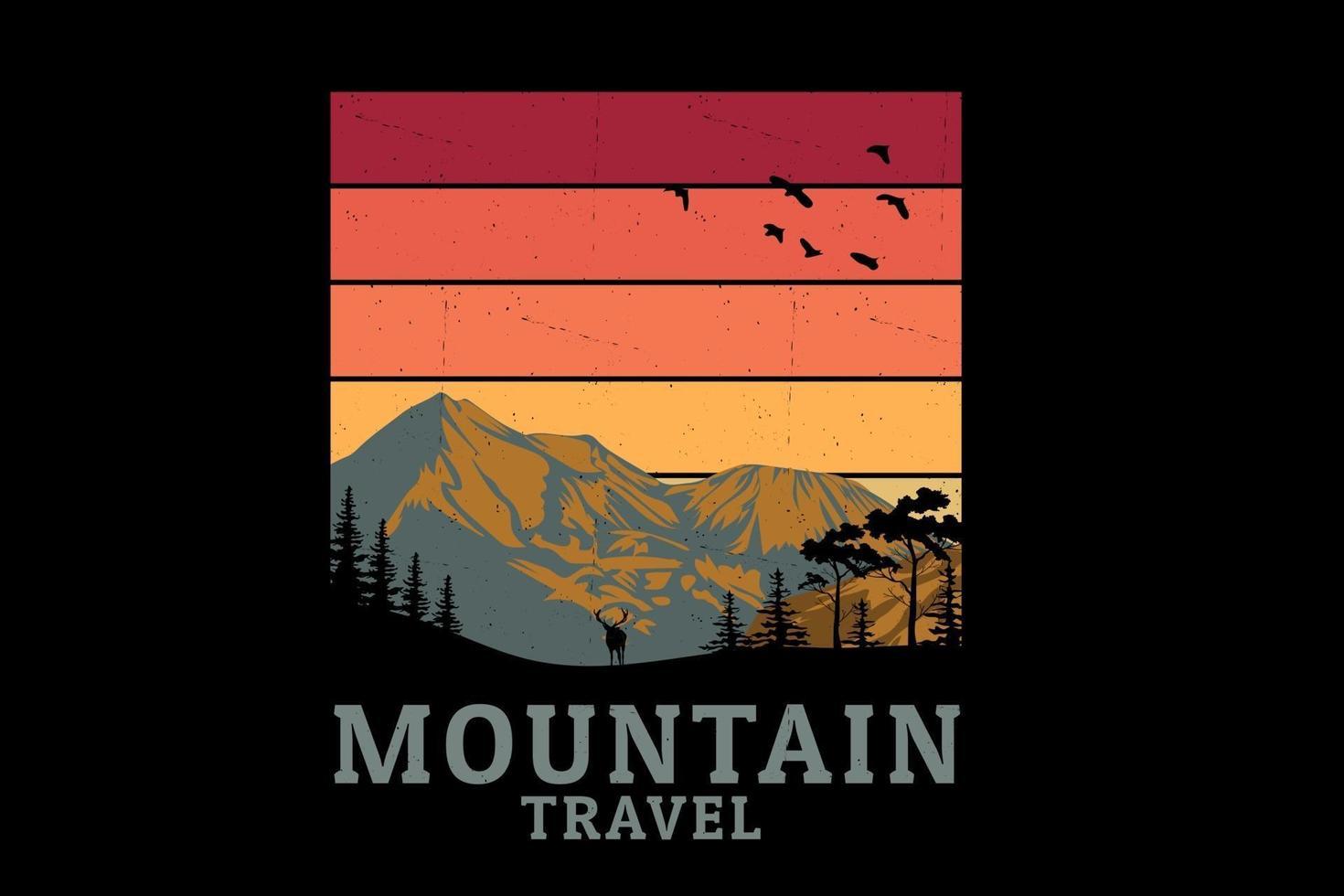 desenho de silhueta de viagem na montanha vetor