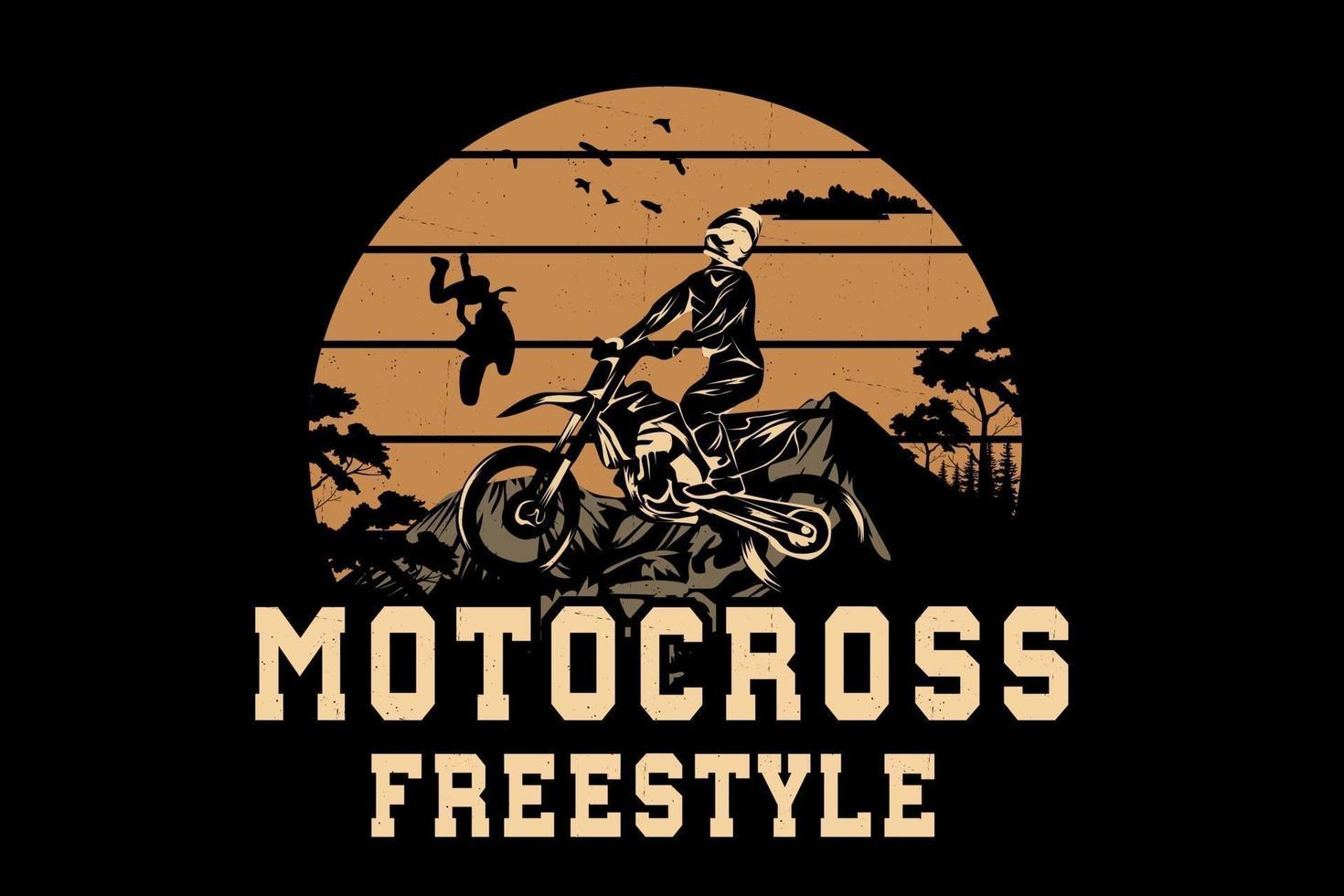 design da silhueta da equipe de motocross estilo livre vetor