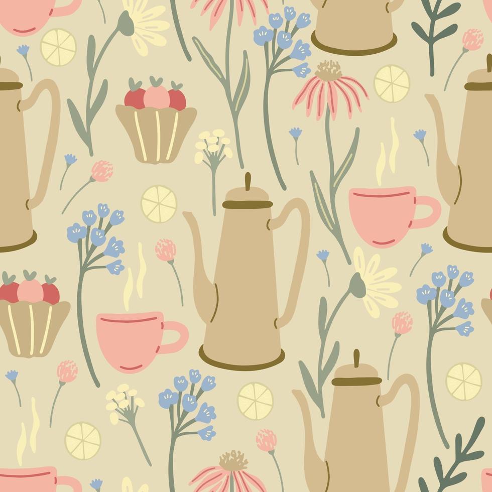 padrão sem emenda de ervas com flores silvestres, xícaras, cafeteiras em bege vetor