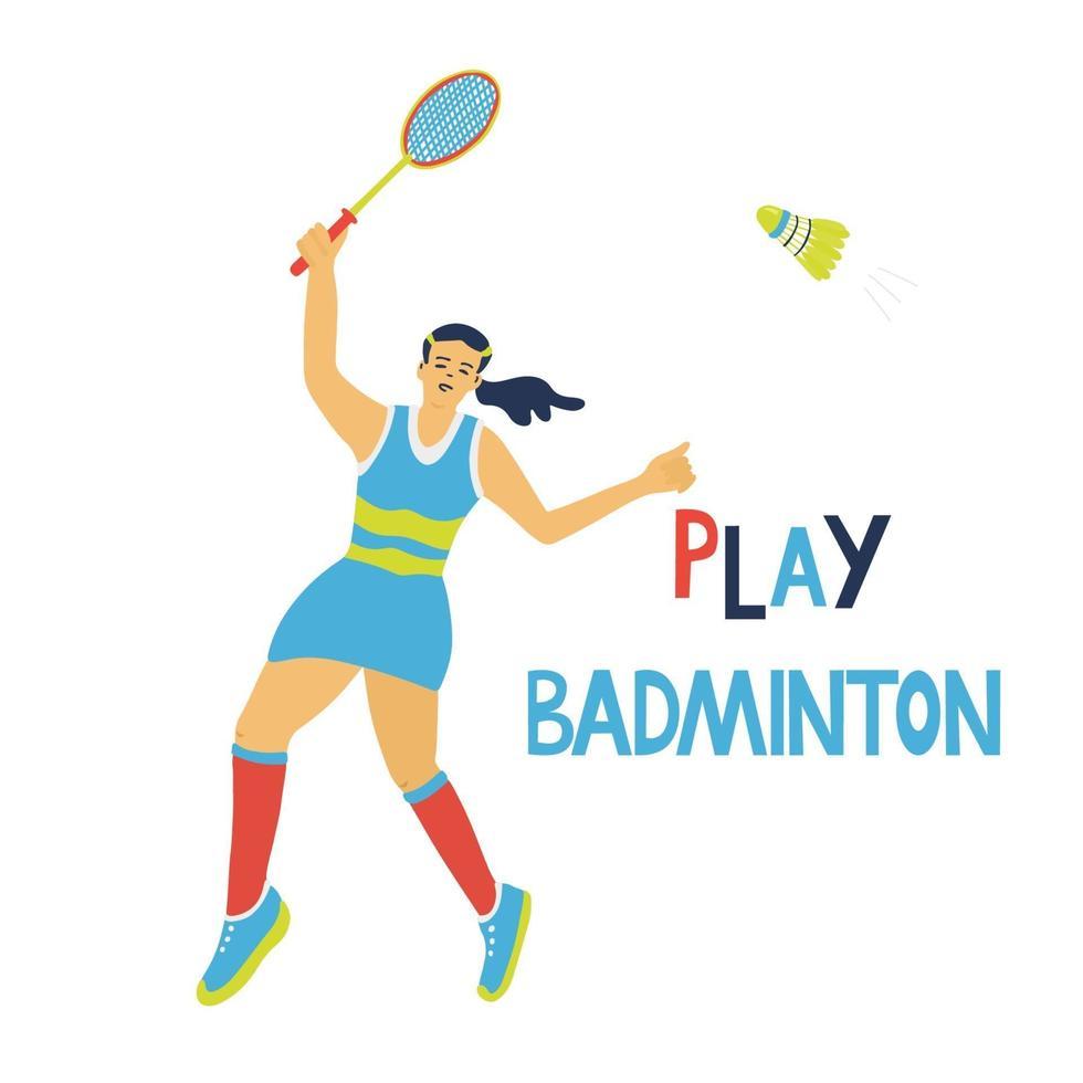 jogo de badminton para solteiros. mulher pulando com raquete vetor