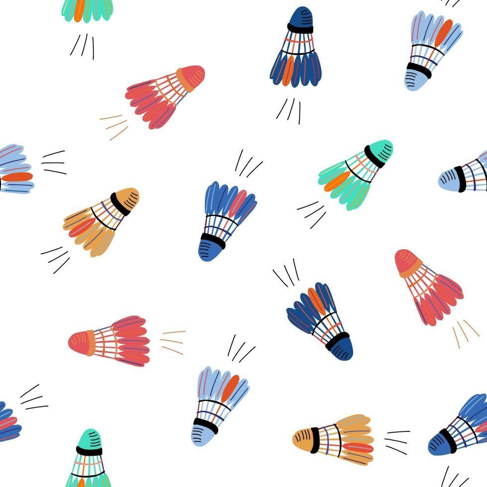 padrão sem emenda com petecas voadoras coloridas. esporte de badminton vetor
