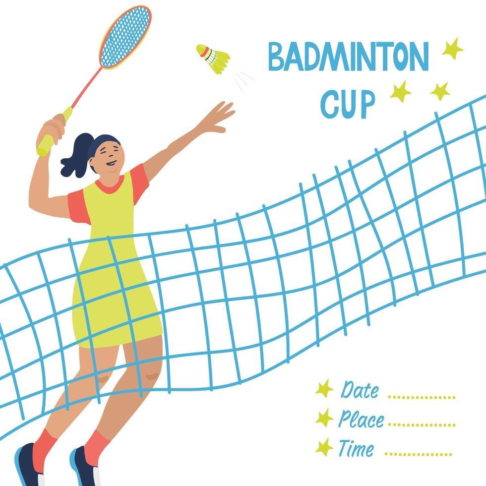 jogo de badminton para solteiros. cartaz de esporte com uma rede e um jogador. vetor