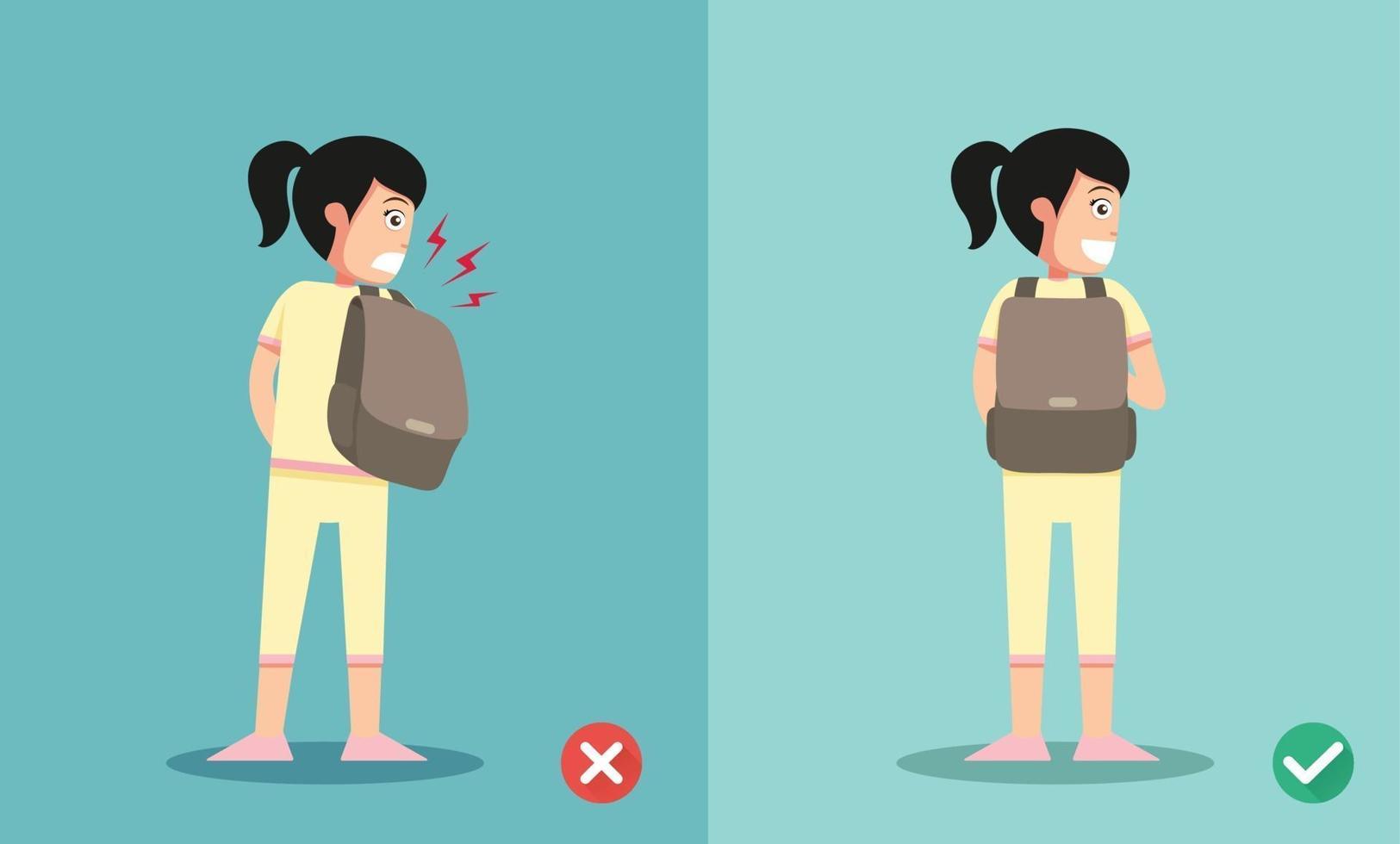 maneiras certas e erradas para a mochila em pé vetor