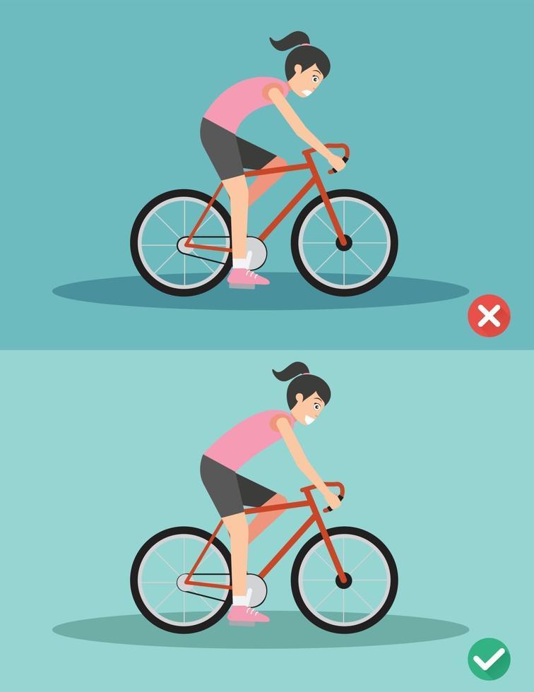 melhores e piores posições para andar de bicicleta vetor