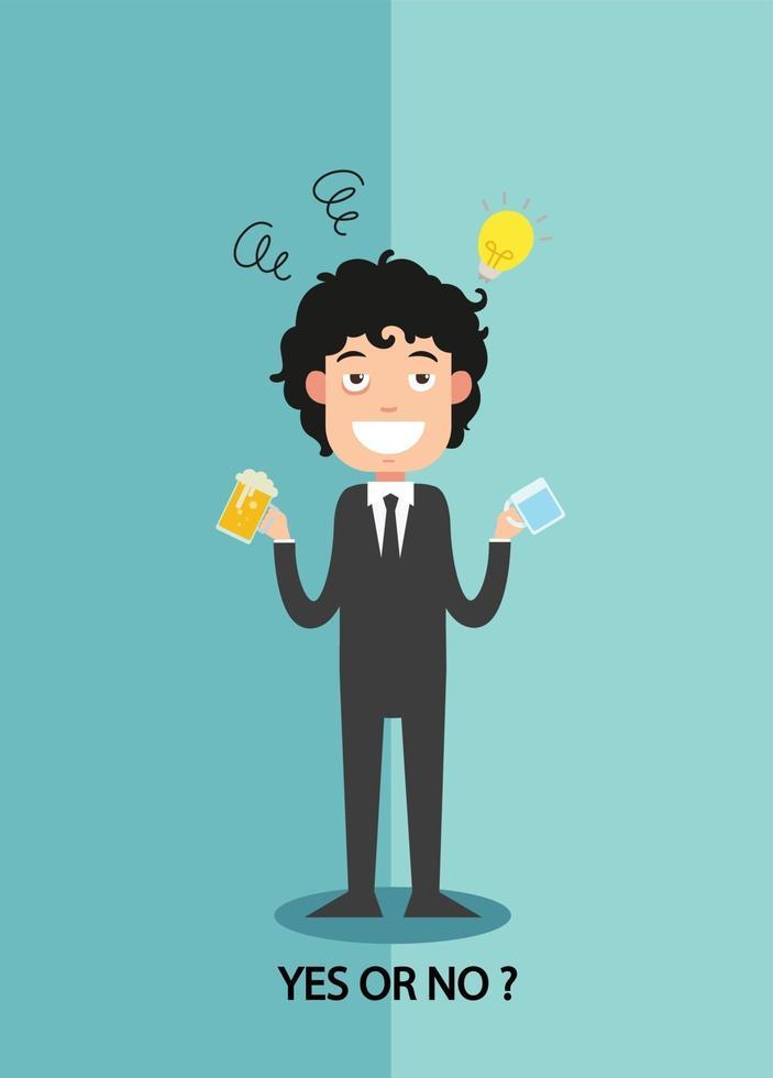 sim ou não para empresários entusiasmo de trabalho vetor