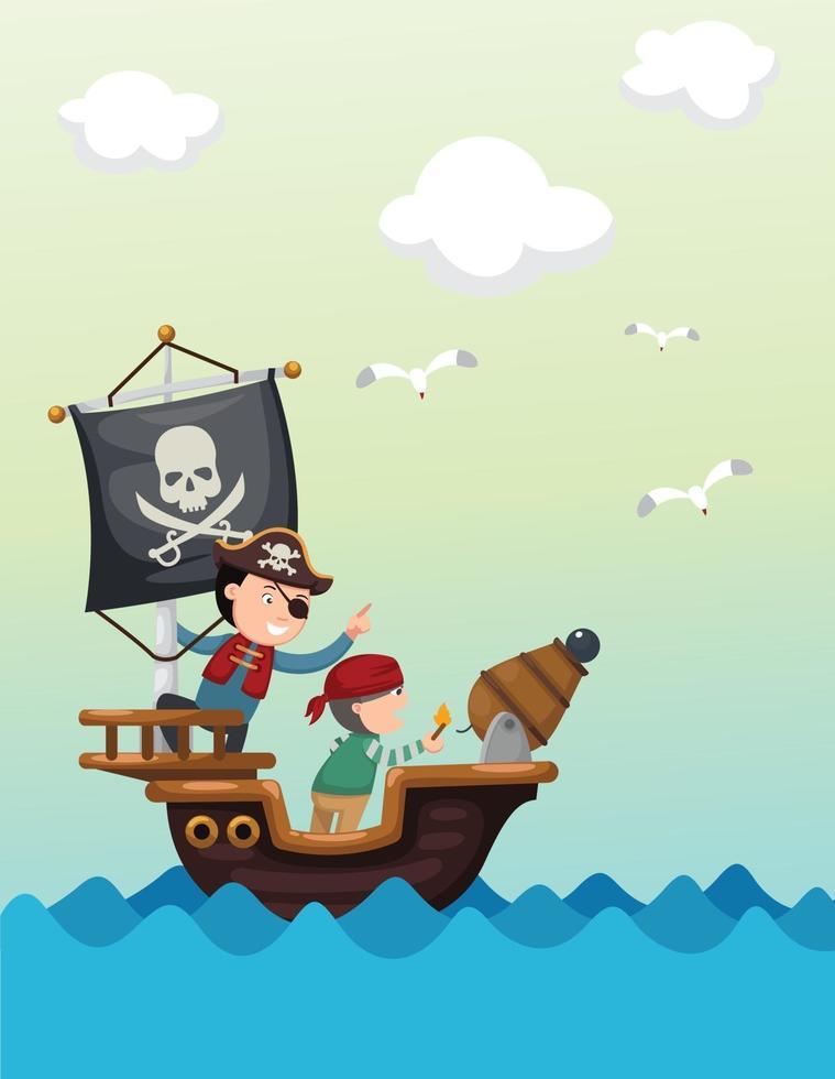 navio pirata bela paisagem vetor