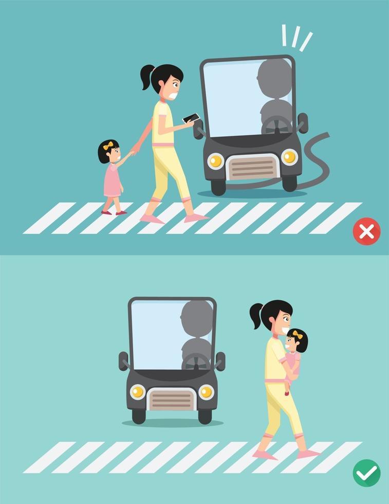 cuidado com o passo. mulheres com criança na faixa de pedestres vetor