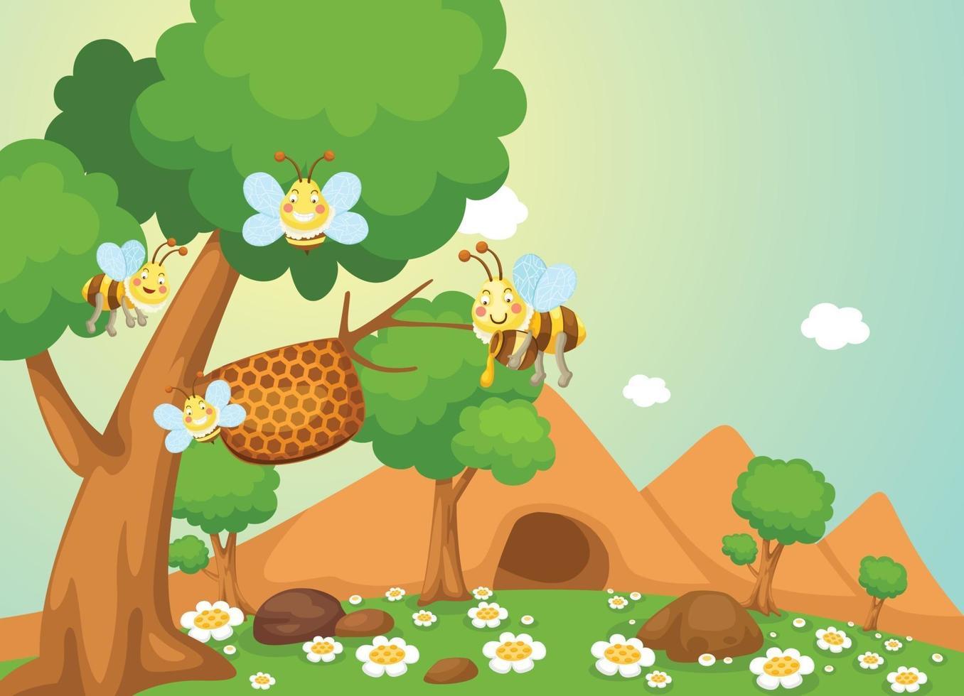 vetor de abelha mel
