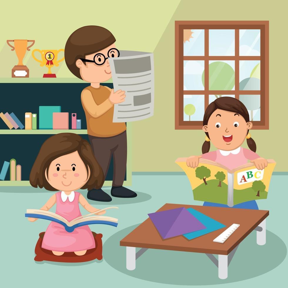 crianças lendo o livro em casa vetor