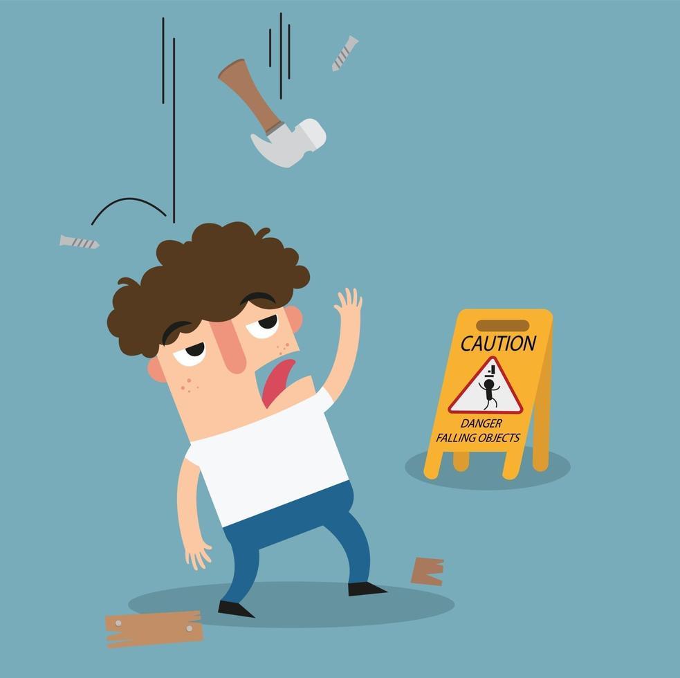 perigo caindo objetos sinal de advertência vetor