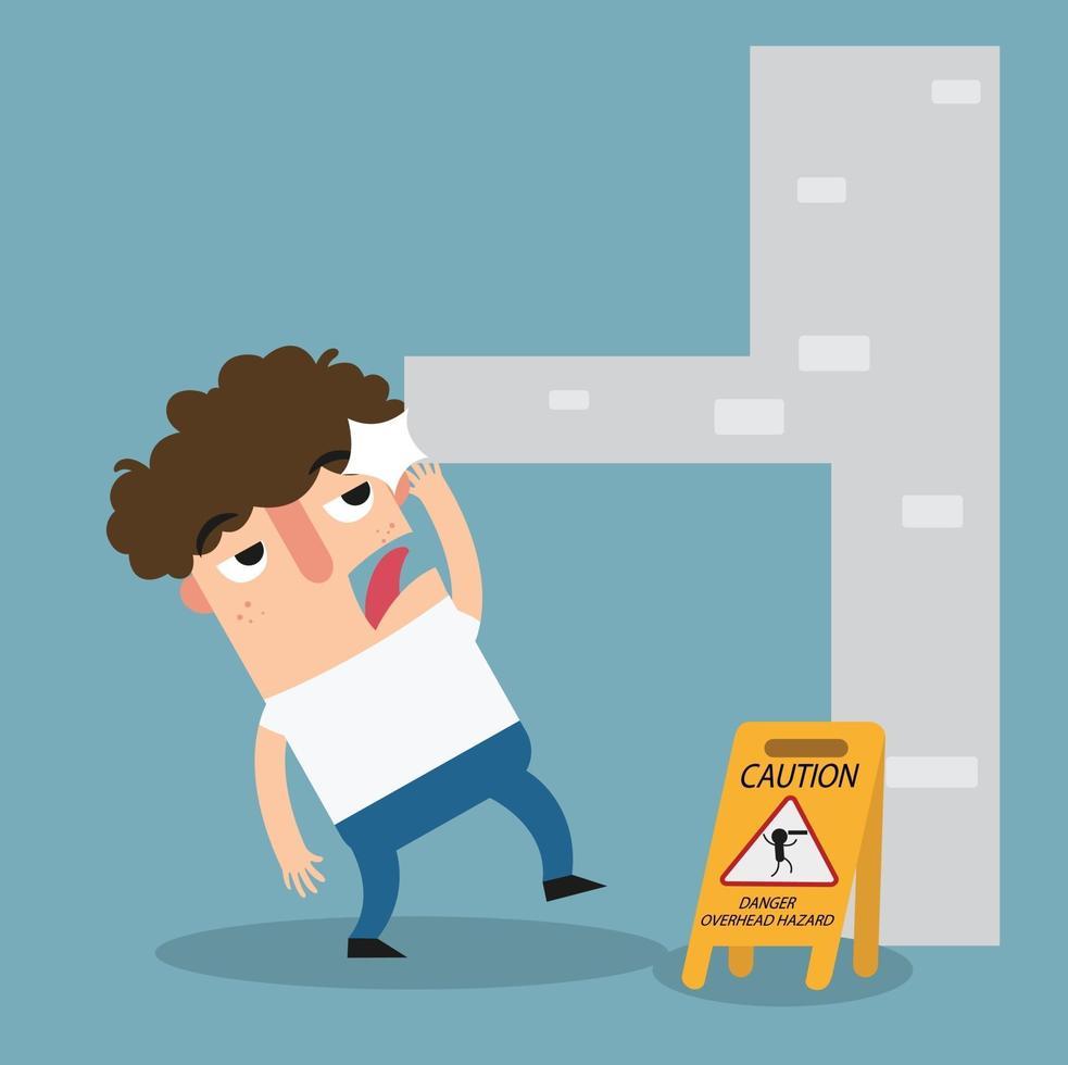 sinal de advertência de perigo acima da cabeça vetor