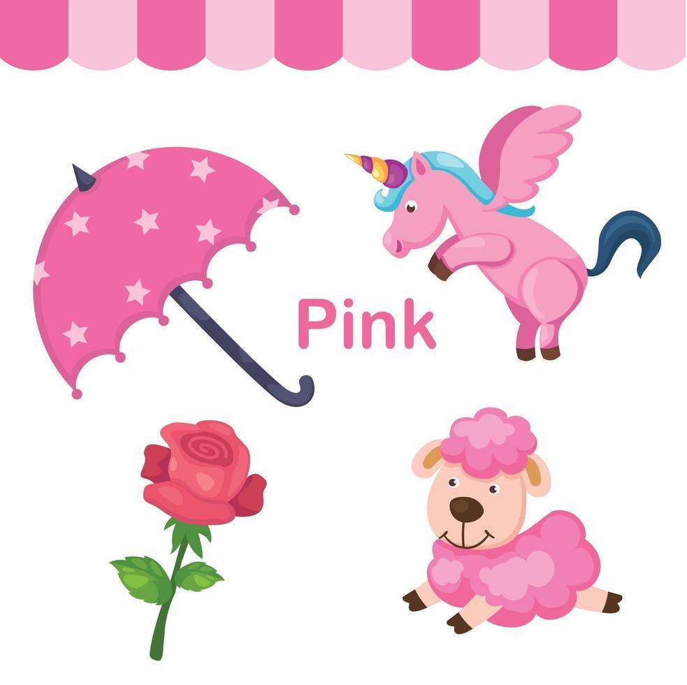 ilustração de grupo isolado de cor rosa vetor