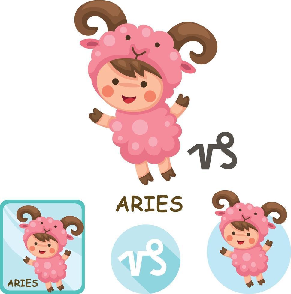coleção de vetores de Áries. signos do zodíaco