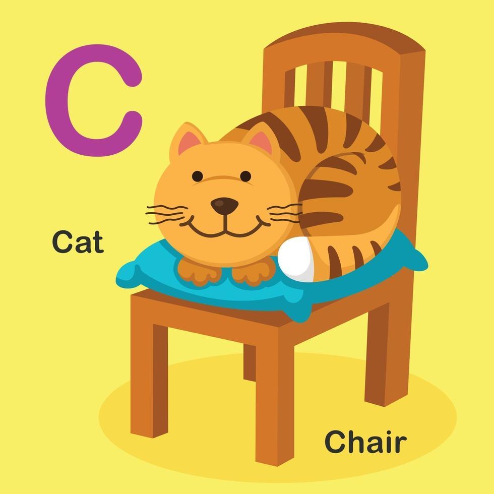 ilustração isolado animal alfabeto letra c-gato, cadeira vetor