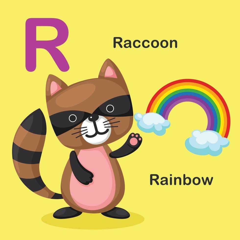 ilustração isolado animal alfabeto letra r-arco-íris, guaxinim vetor