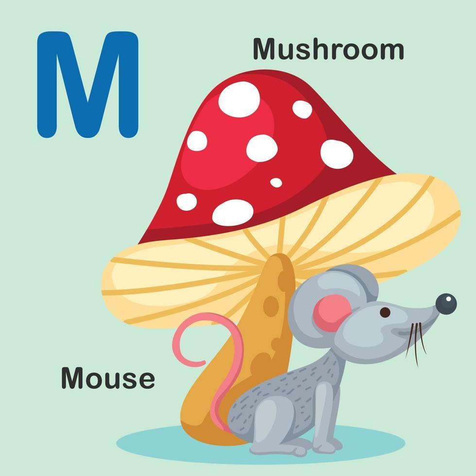 ilustração isolado animal alfabeto letra m-rato, cogumelo vetor