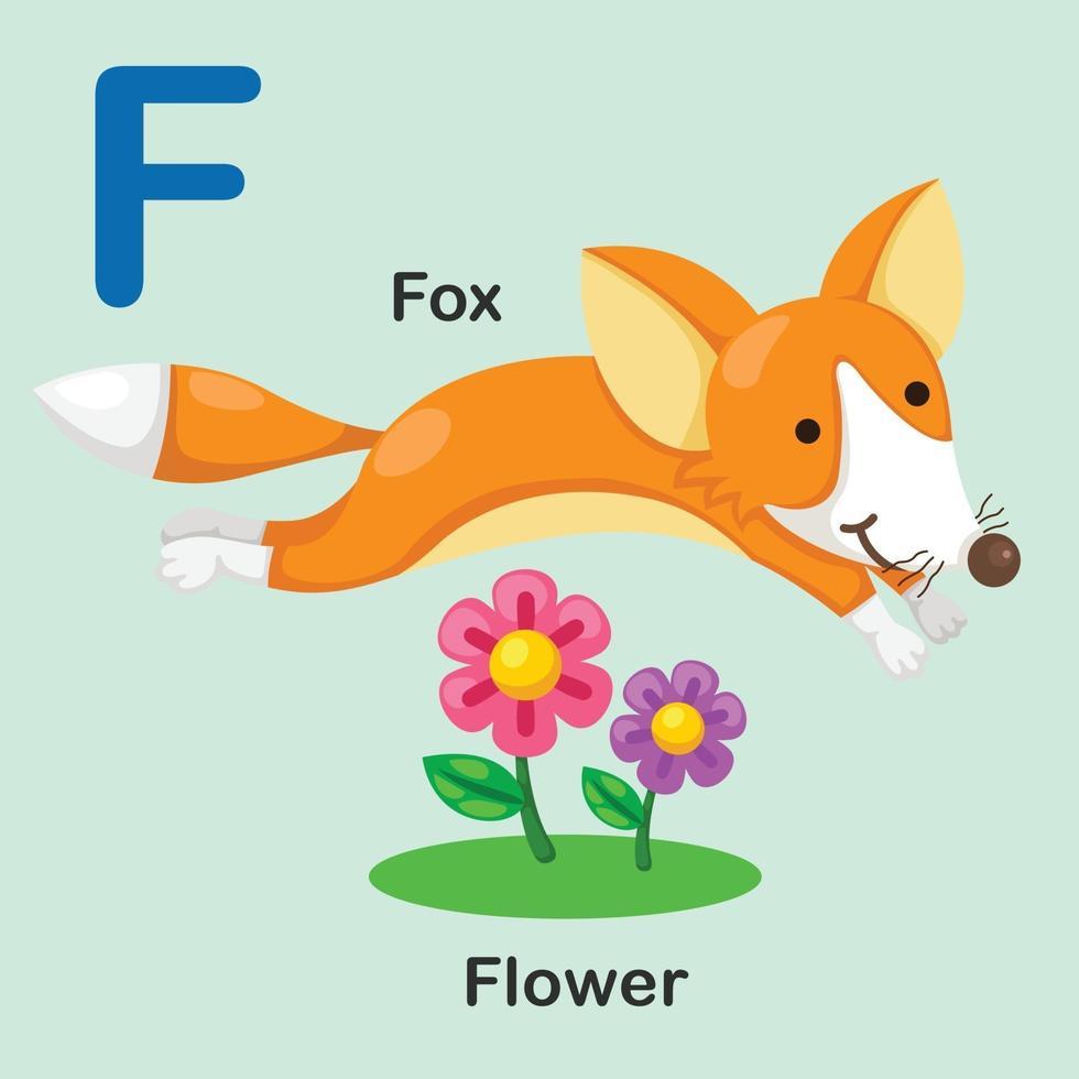 ilustração isolado animal alfabeto letra f-fox-flor vetor