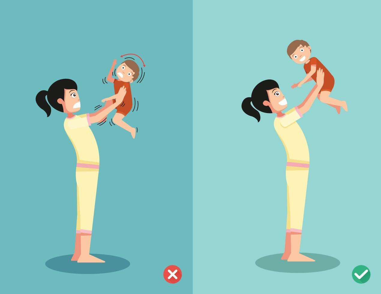 nunca sacuda um bebê da maneira certa e errada de brincar com o bebê vetor