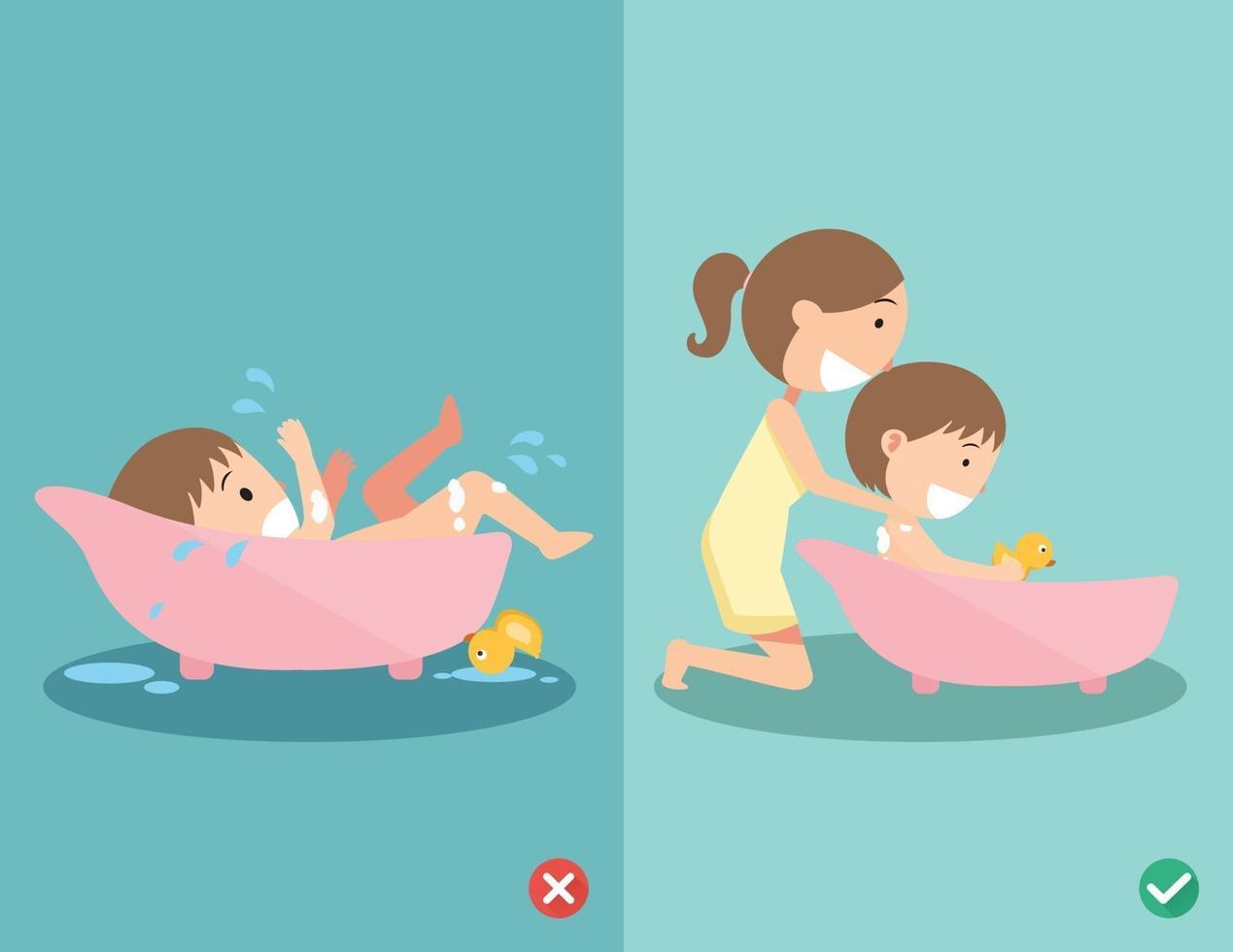 maneiras certas e erradas de dar banho em seu bebê com segurança vetor
