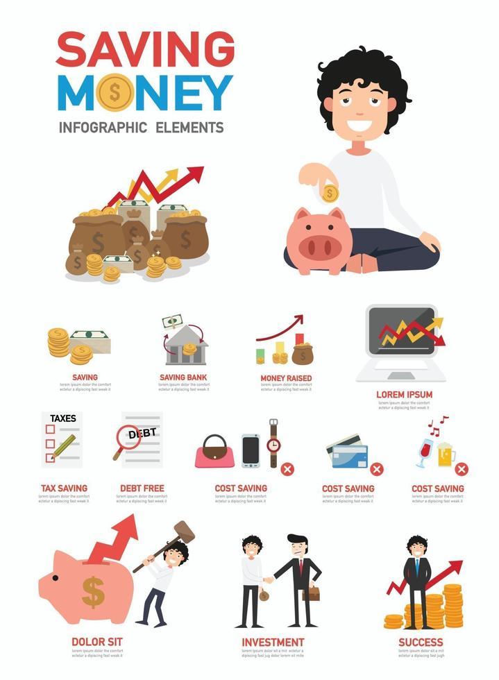 economizando dinheiro vetor de infográficos