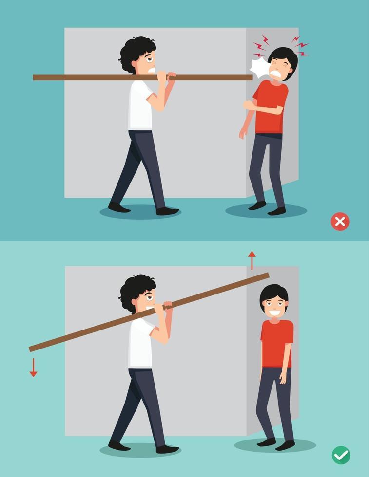 certo e errado carregando um pedaço de madeira nas costas, ilustração vetor