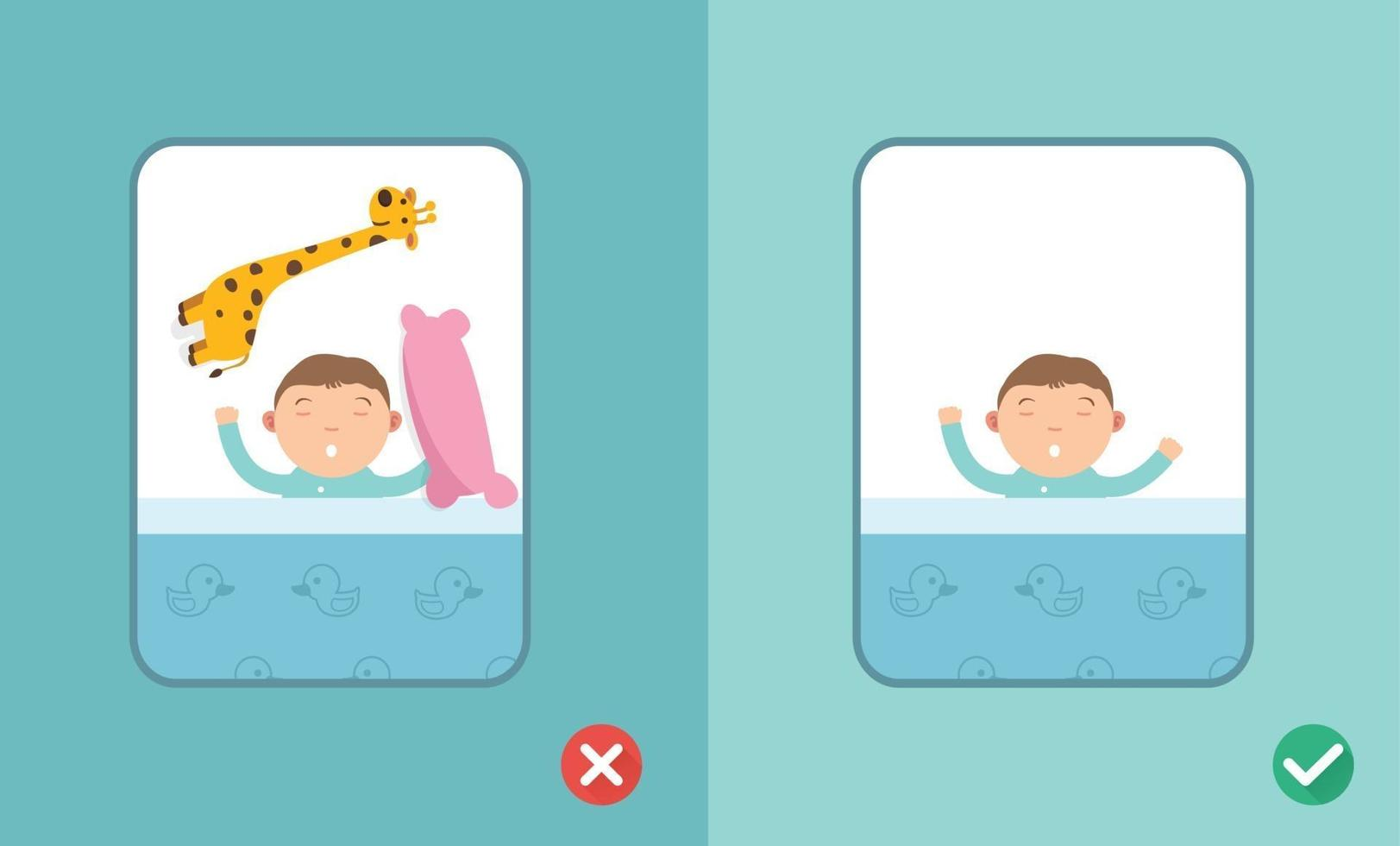 certo e errado bebê dormindo seguro, vetor