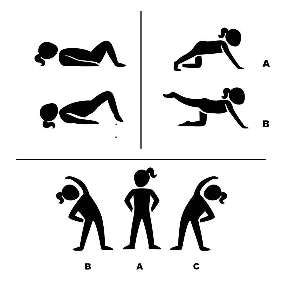 poses de exercício para ilustração de pictogramas saudáveis vetor
