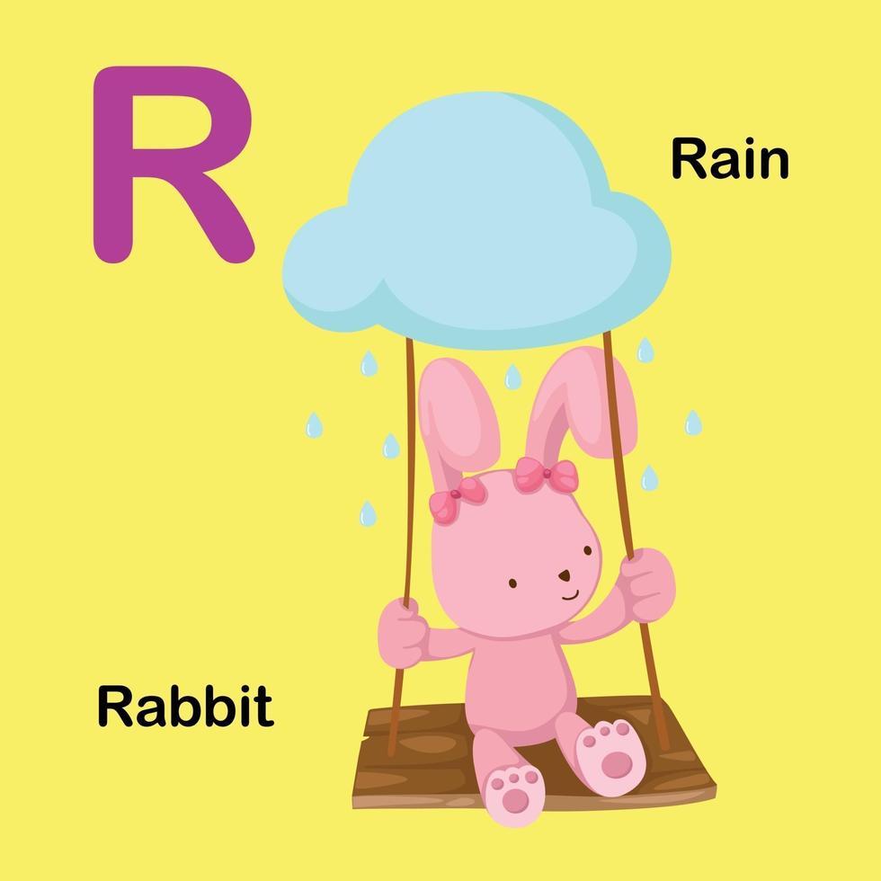 ilustração isolada da letra do alfabeto r-coelho, chuva vetor
