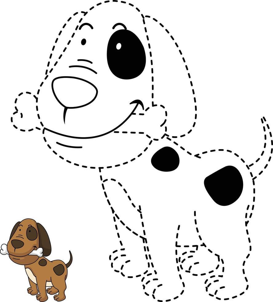ilustração de jogo educativo para crianças e livro-cão para colorir vetor