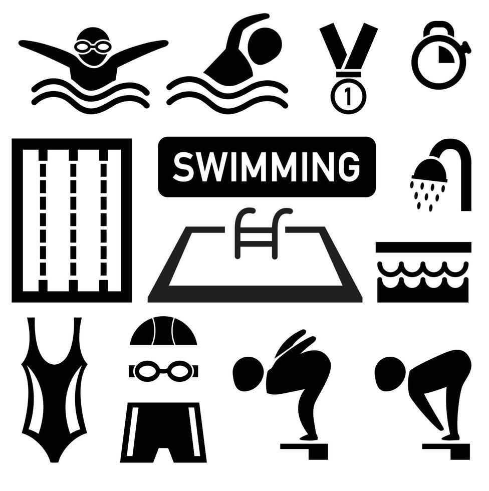 ilustração de ícone de natação isolada vetor
