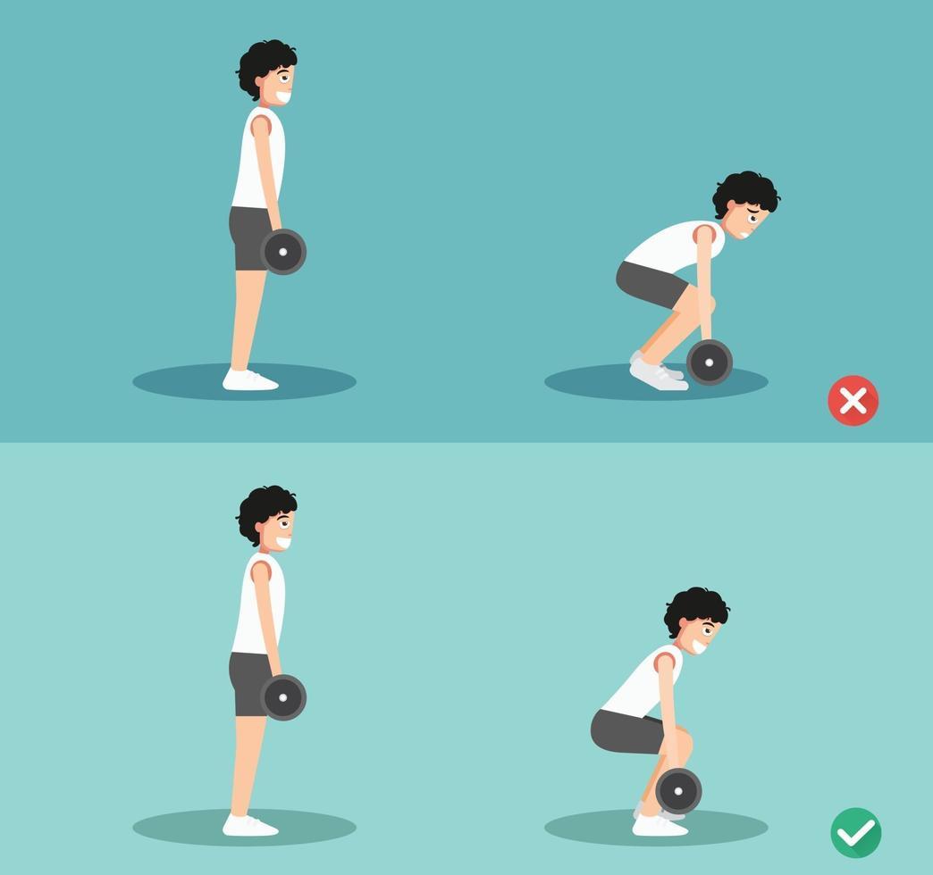 postura masculina correta e errada do levantamento terra, ilustração vetor