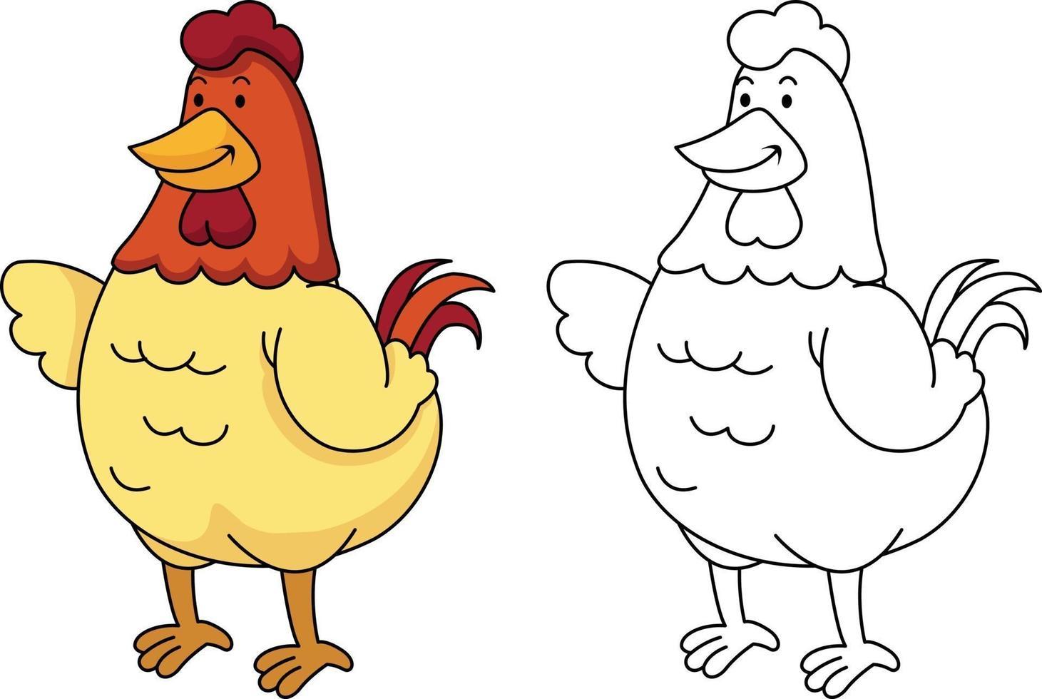 ilustração de livro de colorir educacional - galinha vetor